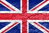 british flag of Great Britain or United Kingdom UK on broken glass