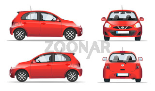 Red mini car side, front and back view, flat style. Template for web site, mobile application and advertising banner. Car isolated on a white background, vector.