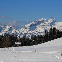 Snow covered mountains in Vaud canton, Switzerland.