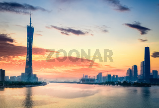 beautiful guangzhou in sunset