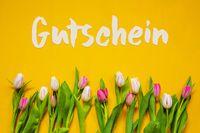 Colorful Tulip, Text Gutschein Means Voucher, Yellow Background