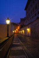 Empty street  next to Prague Castle in the morning, Prague, Czech Republic.