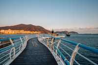 Songdo beach and walkway at sunset in Busan, Korea