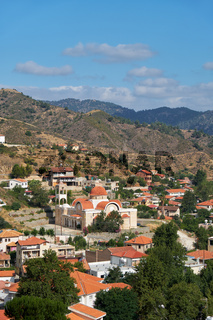 The view of Kakopetria village upon the foothill of the Troodos Mountain. Nicosia District. Cyprus