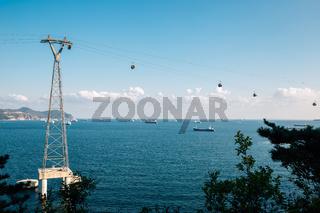 Blue sea and Songdo Marine Cable Car in Busan, Korea