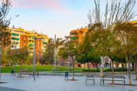 Modern cityscape district park Barcelona
