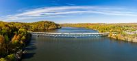 Aerial panorama of fall colors on Cheat Lake Morgantown, WV with I68 bridge