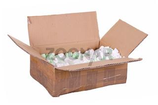 cardboard box with styrofoam