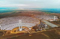 Aerial view Gemasolar Concentrated solar power plant in Sevilla
