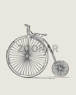 Penny-farthing retro bicycle sketch
