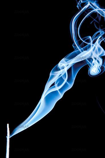 Incense stick smoke trail