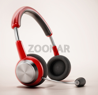 Generic headset isolated on white background. 3D illustration