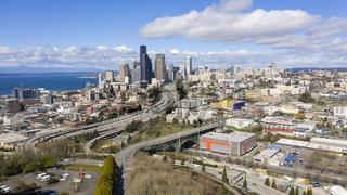 Highway Seattle Washington Downtown Desolate Scene Corona Virus Quarantine