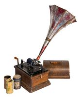 Cut out of 1911 Edison Fireside old phonograph with three cylinder records, including clipping path
