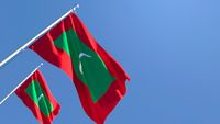 3D rendering of the national flag of Maldives waving in the wind