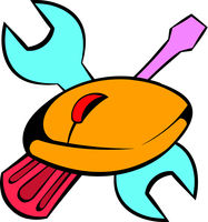 Tools and mouse icon, icon cartoon