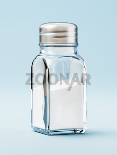 Salt in a Salt Shaker on Blue Background