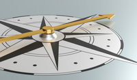Closeup of compass  - 3d rendering