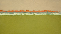 green field abstract landscape created with handmade Indian paper