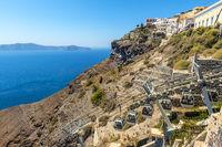 Cable Car In  Fira In Santorini, Greece