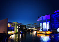 Berlin,Germany - 9-18-2017: The German Chancellery building and Spree River at dusk