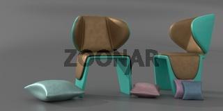 Illustration von zwei Stühlen und verschiedenen Kissen