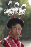 NAGALAND, INDIA, January 2000, Young Naga portrait, Hornbill festival