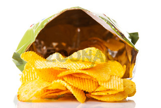 Yellow, tasty but unhealthy potatoe chips.
