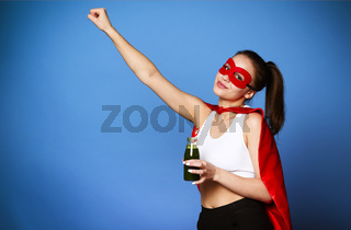 Powerful woman with healthy drink