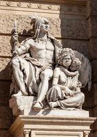 Sculpture representatives natives of America and Australia