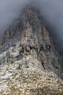 Rock face in Tre Cime National Park, Dolomites, Italy