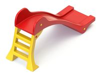 Red yellow plastic children slide 3D
