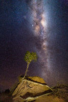 Milky Way galaxy shining brightly over arid Australia