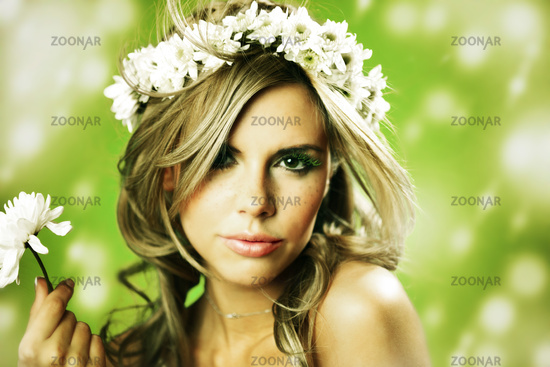 young women on green flowers in hair
