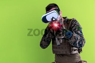 soldier virtual reality green background