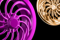 Abstract chrome sports car wheels isolated on a black background 3d illustration