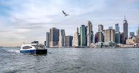 new york city manhattan skyline on a cloudy day in november