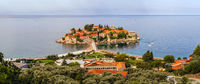 Morning view of Sveti Stefan sea islet, Montenegro