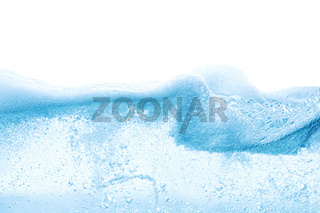 Design of abstract blue water surface splitted by waterline to underwater and sky parts isolated on white background with foam on surface
