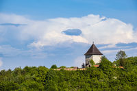 Pyatnychany tower (defense structure, 15th century) on forest hill slope, Lviv Region, Ukraine.