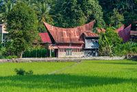 Batak Haus im Ort Tuk Tuk am Toba See in Nord Sumatra