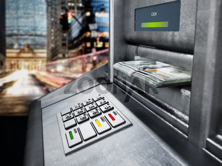 Automatic teller machine (ATM) with dollar bankroll. 3D illustration