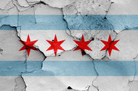 flag of Chicago painted on cracked wall