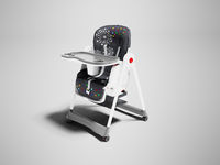 Chair for feeding child with his table and department for mug 3d render on gray background with shadow