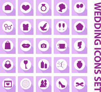 Wedding set of icons, design elements, black silhouette with long shadows.Marriage and romance of a collection of objects with ring, bride, groom, balloons, hearts, flowers. Vector illustration