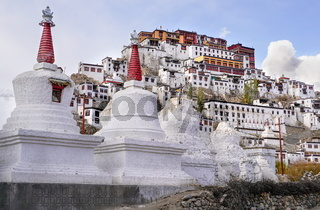 The old Thiksay monastery in Theksey small village