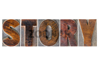story word in wood type