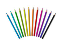 Set of color wooden pencil in circle shape on white background
