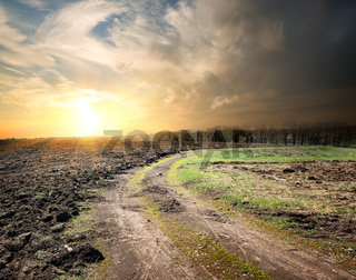 Country road and plowed land