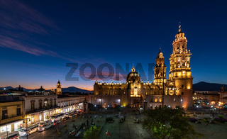 Sunset view of Morelia Cathedral, Michoacan, Mexico.